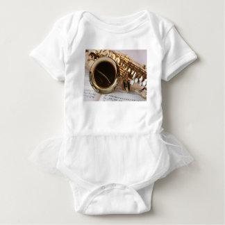 Saxophone Music Gold Gloss Notenblatt Keys Baby Bodysuit