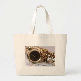 Saxophone Music Gold Gloss Notenblatt Keys Large Tote Bag