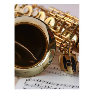 Saxophone Music Gold Gloss Notenblatt Keys Postcard