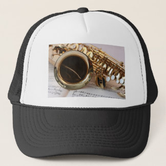 Saxophone Music Gold Gloss Notenblatt Keys Trucker Hat