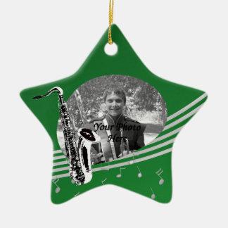 Saxophone Music Photo Green Ceramic Ornament