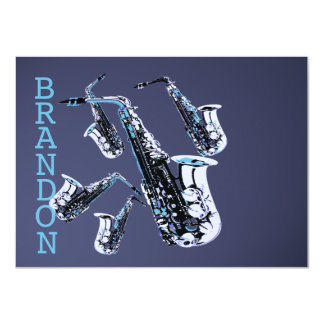 Saxophone Music Thank You Flat Card