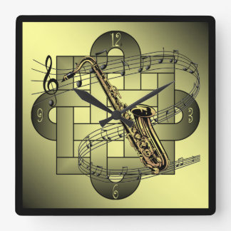 Saxophone ~ Musical Scale ~ Double Knot Graphic ~ Square Wall Clock