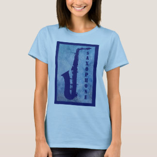 Saxophone on Blue Watercolor T-Shirt