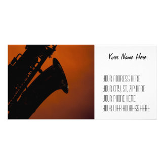 Saxophone on Gold Spotlight Background Picture Card
