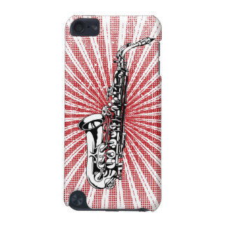 Saxophone on Grunge Red Sunburst iPod Touch (5th Generation) Case