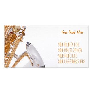 Saxophone on White Personalized Photo Card