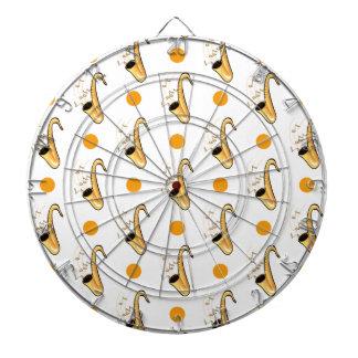 Saxophone Orange White Polka Dots Dartboards
