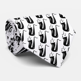 Saxophone pattern neck tie gift with musician