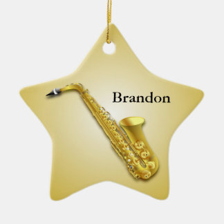 Saxophone Personalized Star Christmas Ornament