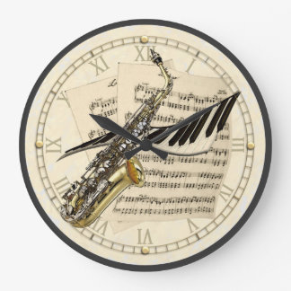 Saxophone & Piano Music Design Wall Clock