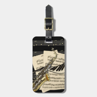 Saxophone & Piano Music Personalized Luggage Tag
