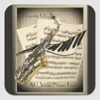 Saxophone & Piano Music Square Bookplate Square Sticker
