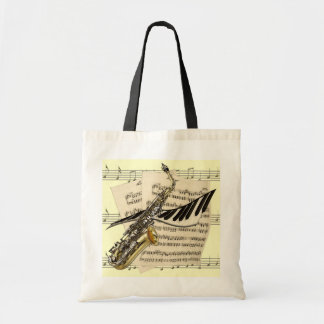 Saxophone & Piano Music Tote Budget Tote Bag