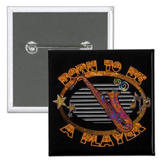 Saxophone Player 15 Cm Square Badge