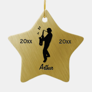 Saxophone Player Gold Name / Date Ceramic Ornament