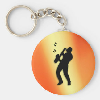 Saxophone Player Orange Key Ring