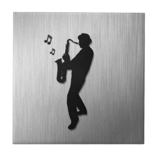 Saxophone Player Silver Ceramic Tile