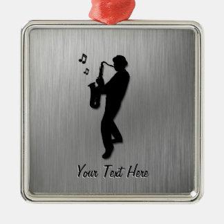 Saxophone Player Silver Metal Ornament