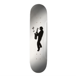 Saxophone Player Silver Skate Deck