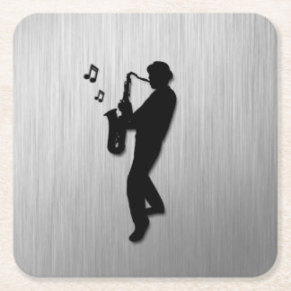 Saxophone Player Silver Square Paper Coaster