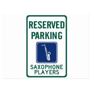 Saxophone Players Parking Postcard