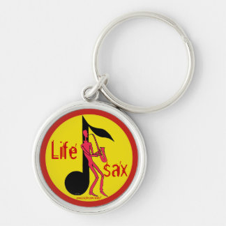 Saxophone playing man pen ink drawing key chain