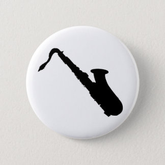 Saxophone Silhouette 6 Cm Round Badge