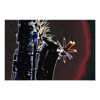 Saxophone Silhouette With Stars Print Photograph