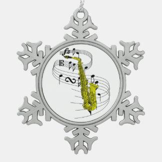 Saxophone Snowflake Pewter Christmas Ornament