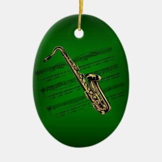 Saxophone w/Sheet Music ~ Dark Green Background Ceramic Ornament