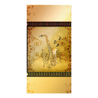 Saxophone with decorative, elegant floral elements photo greeting card