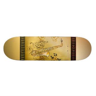 Saxophone with decorative, elegant floral elements 21.6 cm skateboard deck
