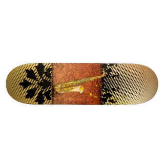 Saxophone with flowers and floral elements skate board decks