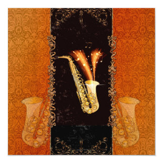 Saxophone with key notes and floral elements 13 cm x 13 cm square invitation card