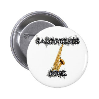 Saxophones Rock 6 Cm Round Badge