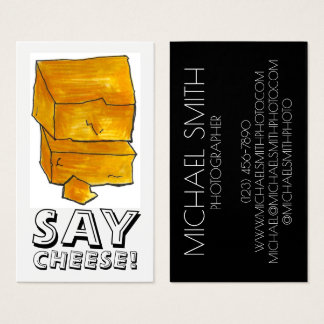 SAY CHEESE! Photographer Photography Cheddar Food Business Card