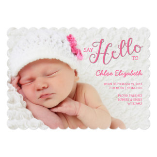 Say Hello Baby Girl Birth Announcement Photocard