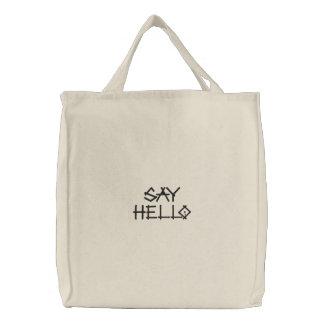 Say Hello embroidered bag