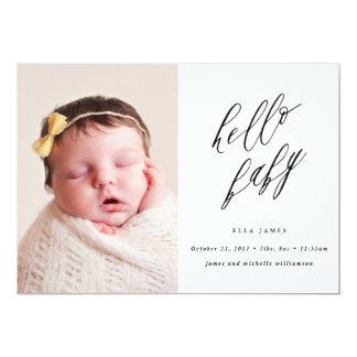Say Hello to Baby Birth Announcement // Black