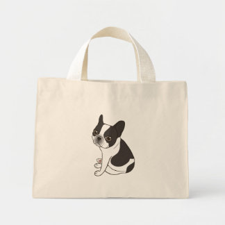 Say hello to the cute double hooded pied Frenchie Mini Tote Bag