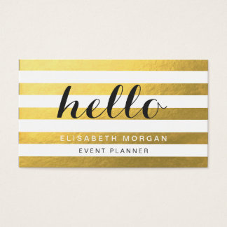 Say Hello to Your Clients - Stylish Gold Stripes Business Card