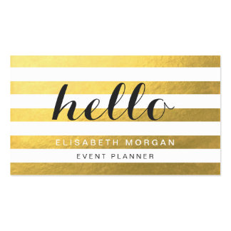 Say Hello to Your Clients - Stylish Gold Stripes Pack Of Standard Business Cards