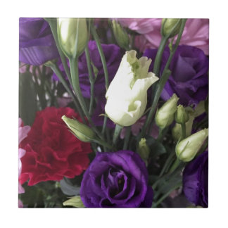 Say Love you with Flowers Ceramic Tile