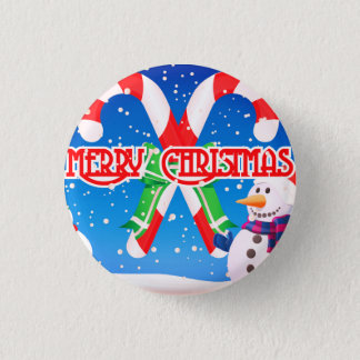 Say Merry Christmas With this Frosty Snowman 3 Cm Round Badge