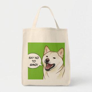 Say NO GMO Hipster Shiba Inu Dog Shopping Bag