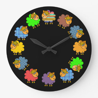 Say NO to Boring Sheep - a 'Garland of Sheep' Large Clock