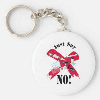 Say No to Drugs Basic Round Button Key Ring