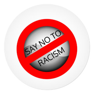 Say no to racism 13 cm x 13 cm square invitation card