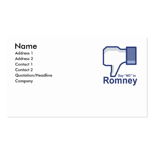 Say No to Romney Business Card Template